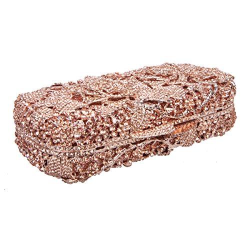 Bonjanvye Glitter Floral Clutch Purse for Girls Crystal Rhinestone Handbag AB Gold Rose gold