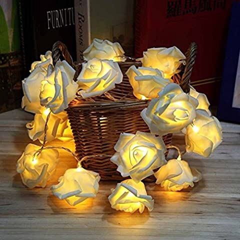 Dekawei 3M 30er LED Rosen Lichterkette batteriebetrieben Weihnachtslicht Lichter warmweiß (Warm white)