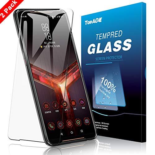 topace vetro temperato asus rog phone 2,hd-clear 9h resistenza anti-olio resistente ai graffi screen protector schermo in pellicola protettiva per asus rog phone 2(transparent)
