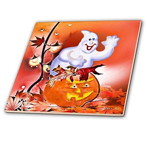 3dRose Halloween Gespenst und Kürbis-Keramik Fliesen, 12Zoll (CT 4421_ 4)