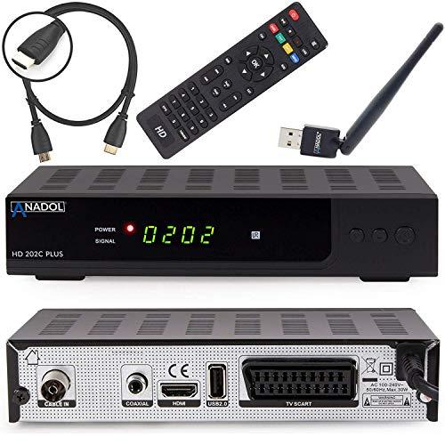 Anadol HD 202c Plus digitaler Full HD 1080p Kabel Receiver [Umstieg Analog auf Digital] inkl. HDMI Kabel & WLAN USB Stick (HDTV, DVB-C/C2, HDMI, SCART, Mediaplayer, USB 2.0) - schwarz
