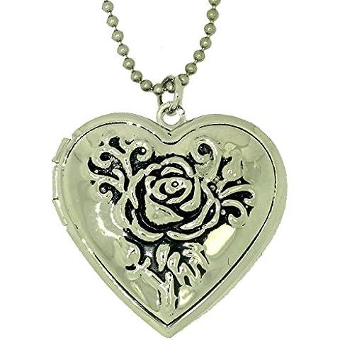 NEW Arrivals Desige a forma di cuore, con fiore placcato in oro, ciondolo a forma di medaglione Lockets da regalo per foto, in confezione