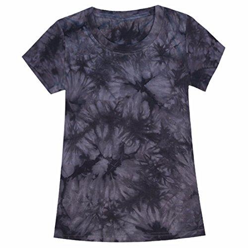 QIYUN.Z Manica Corta Di Colore Solido Tie-Dye Estate Donne Casuali T-Shirt Tee Grigio