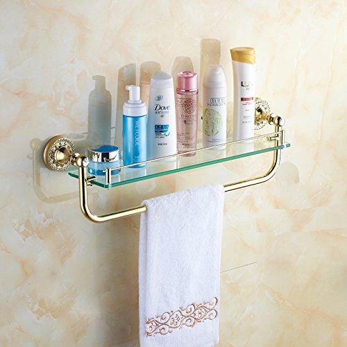 LHbox Tap Golden Handtuchhalter voll Kupfer EIN Bohrer Bad Handtuchhalter Badezimmer Handtuchhalter WC-Bürste mit Papiertuch Rack Kit mit Rod Racks -