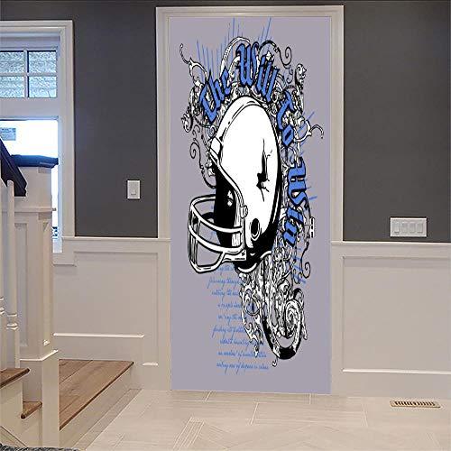 DNFurniture 3D Tür Aufkleber Krieger Perücke 80X200CM Vision Wandbild selbstklebend Tapete Kontinental Haus Landschaft Kunst Dekoration Geschenk PVC Wandaufkleber (Haus Von Perücken)