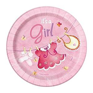 Partido Ênico 18 cm Platos Party fiesta de bienv (paquete de 8, rosa)