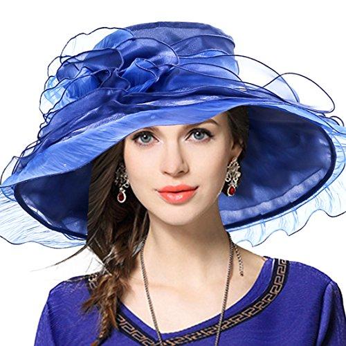 VECRY Damen Kirche Derby Kleid Fascinator Braut Mütze Britischer Tee Party Hochzeit Sonnenhüte (611-Marine)
