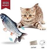 Nincee Simulación Realista de Felpa Pez muñeca eléctrica,  Suministros interactivos Divertidos para Masticar Mascotas  Flop de Gato/Gatito/Gatito Gato de Juguete  Juguetes Catnip (A)