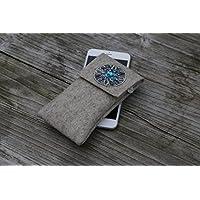 zigbaxx Handyhülle - u.a. für iPhone 8, iPhone 8 plus / Smartphone-Hülle MAROC aus Woll-Filz mit Stickapplikation - beige / grau / braun - Geschenk Weihnachten Geburtstag Muttertag Valentinstag