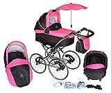 Clamaro 3 in 1 'ORION Retro' Kombi Kinderwagen mit 17' Räder inkl. Babywanne, Sport Buggyaufsatz, Babyschale (ISOFIX), Gestell in Chrom - 4. Schwarz / Pink
