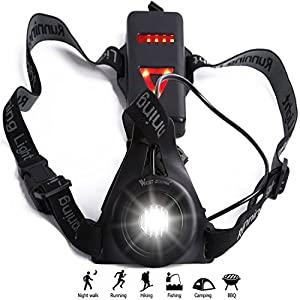Chest Torch Running Light Lamp, USB Rechargeable LED Body Torch,Bright Waterproof Comfortable High Visibility Flashlight with Taillight for Night Runners Jogging Dog Walking Camping Reading Fishing DIY Kids