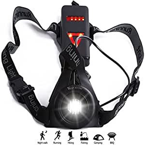 Torcia Running Luce da corsa Ricaricabile USB Running Light, con triangolo di sicurezza, ideale per fare jogging, portare a spasso il cane, per campeggio e pesca