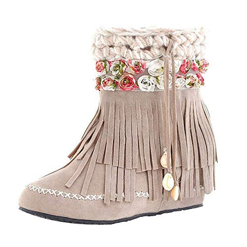 Fuxitoggo Frauen Schnee Stiefel, Damenmode Lässige Stiefel Kurze Schlauchstiefel Wildleder Fransen Stiefel Flache Ferse Schnee Stiefel Damen Bequeme Schuhe (Farbe : Beige, Größe : 6 UK)