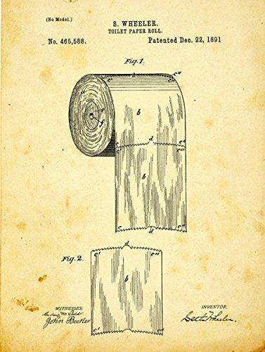 Homebody Accents Toilettenpapier Patent Zeichnen Metall Schild, Vintage, Bad, Badezimmer, Steampunk, industrieller Décor