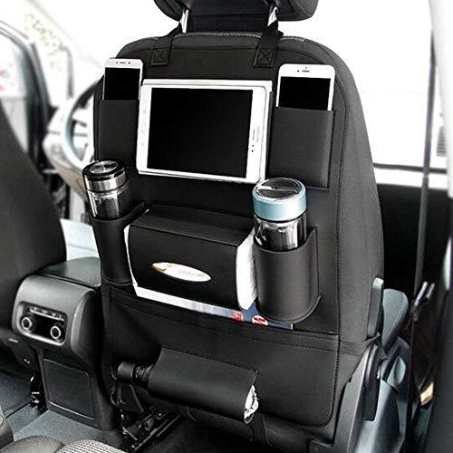 GOGOLO Étui à lunette multiple pour siège arrière Organisateur de voiture Protecteurs de siège en cuir PU pour enfants, bouteilles de rangement, boîte à papier, jouets, tablette, noir