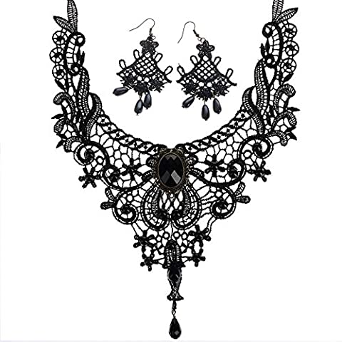 Contever® 1 set Jewellery Vintage Gothic Victorian Elegant Lace Necklace + Fan-shaped Earring