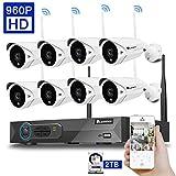 Luowice 8 Kanal Drahtloses Überwachungskamera-Set 2.4G HD NVR System. WiFi Inklusive 8 Stück Drahtlosen Wasserfesten 960p Kameras mit Nachtsicht-Funktion für die Montage im Freien Vorkonfigurierte mit 2TB HDD