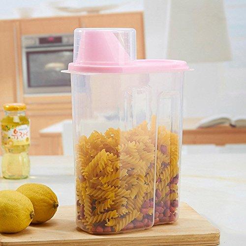 Recipiente de almacenamiento para cereales – mantiene los alimentos secos – ideal para harina, azúcar, soja y más – dispensador, 2,5 l, plástico, rosa, 27x15x8cm