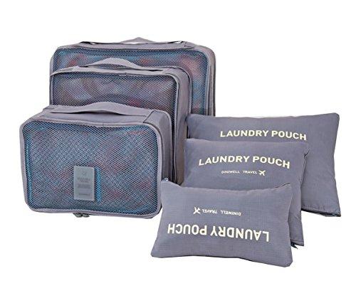 ITraveller 7 Stück Set-3 Verpackungs Würfel+3 Beutel+1shoes bag Kompresse Ihre Kleidung während der Reise (Blue) Gray