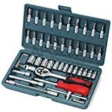 Hi-Spec 46-teiliges hochqualitatives allgemeines Werkzeugset aus Chrom-Vanadium Cr-V Stahl mit metrischen Steckschlüsseln, Hakenschlüsseln, Kombizange, Schlosserhammer, Die gebräuchlichsten Reparaturwerkzeuge, alle sauber organisiert in einer stabilen Aufbewahrungsbox.