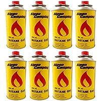 8er Pack Alpen Camping Gaskartusche BUTAN-Gas à 227 g Inhalt pro Flasche für Camping-Kocher Outdoor Aktivitäten Grillen