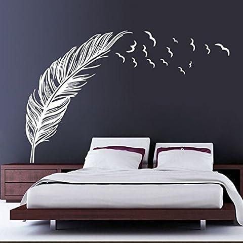 Vovotrade New Feather Chambre Autocollant Mural Oiseaux Accueil Decal Mural Art Decor Blanc