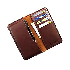 i-KitPit : Genuine Leather Wallet Flip Pouch Case For Lava Xolo Q800 - X-Edition (BROWN)