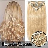 TESS Echthaar Extensions Clip in guenstig Haarverlängerung Doppelt Tressen für komplette Haarextension 8 Teile 18 Clips Glatt 7A Dick Hair (40cm-130g, 24 Mittelblond)