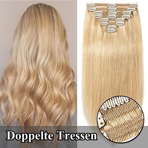 TESS Clip in Extensions Echthaar guenstig Haarverlängerung Doppelt Tressen für komplette Haarextension 8 Teile 18 Clips Glatt 7A Dick Hair (45cm-140g, 24 Mittelblond)