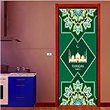 Smntt Ramadan Mubarak Pegatinas Puerta Musulman Amovible PVC 3D Porte Sticker Mural Étanche Chambre Décor pour Porte Décoration 77X200 Cm