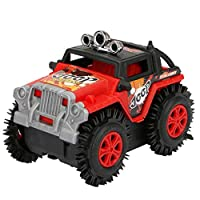WORMENG Newest Children Dump Truck Simulation 4 Wheels Drive Jeep Electric Stunt Toy Car Learning Toy Educational Toy