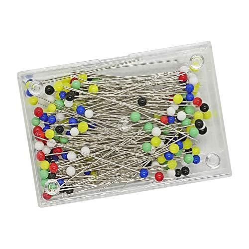 feine Stecknadeln mit Glaskopf, ca. 170 Stück/Dose, Länge: 35mm, farbig Sortiert - zum Nähen, Basteln & Markieren, Buntkopfnadeln, Pin (Glaskopfstecknadeln, extradünn) ()
