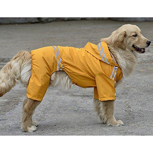 VICTORIE Hund Regenmantel Poncho Regensjacke Wasserdicht Leicht Reflektierende für große mittlere kleine Hund Gelb 7XL