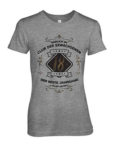 Teequote Endlich IM Club der Erwachsenen 18 der Best Jahrgang Aller Zeiten Original Geschenk Zum 18 Geburtstag Damen T-Shirt Grau X-Large (T-shirt All Erwachsenen American)