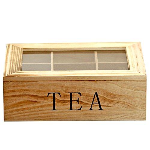 1 XXL Boîte à thé avec couvercle coffret Tea Box en bois Naturel Vintage Shabby Décoration Gris, modèle:mod 1