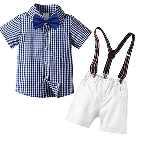 Cuteelf Kleinkind Baby Set Boy Kind Gentleman Plaid Bogen T-Shirt Shorts Set Kind Kurzarm Plaid Print Fliege Gentleman Top + Solid Color Shorts + Strap + Bow Tie - Blau Bow Tie Kostüm