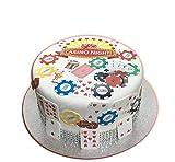 * * vorgeschnittenen Zuckerguss * * 26Casino Kuchen Dekoration Set Spielkarten, Poker Chips leicht Abziehen und Befestigen