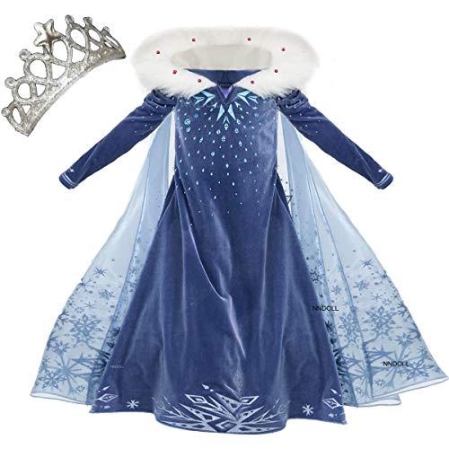 Nndoll princess vestito carnevale bambina abito costume bimbi deluxe elsa 131