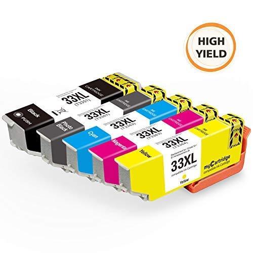 Mycartridge kompatibel Epson 33XL Druckerpatronen für Epson Expression Premium XP-530 XP-540 XP-630 XP-635 XP-640 XP-645 XP-830 XP-900 Drucker (Schwarz/Fotoschwarz/Cyan/Magenta/Gelb)