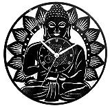Instant Karma Clocks Horloge Murale en Vinyle Vintage Art Temple Mandala Yoga Bouddha
