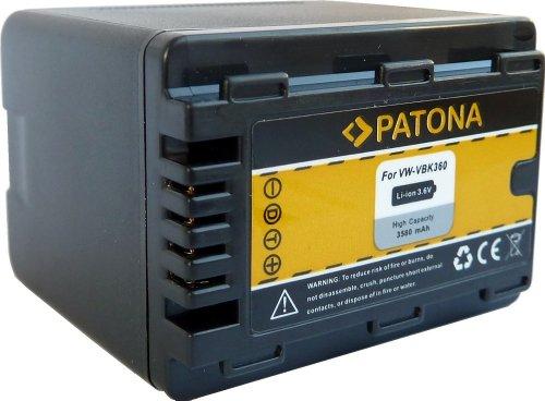 PATONA Qualitätsakku - Ersatz für Akku Panasonic VW VBK360 E K / mit Infochip V500-camcorder-batterie