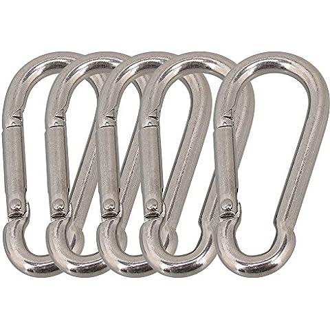 cnbtr plateado 304acero inoxidable Grado resistente primavera Snap Hook mosquetón 5unidades (M5x 50mm)