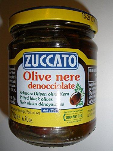 Olive Nere denocciolate in Olio, schwarze Oliven ohne Kern in Öl
