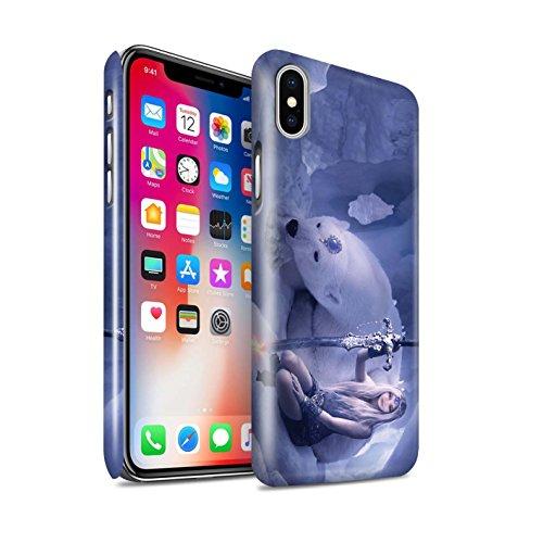 Offiziell Elena Dudina Hülle / Glanz Snap-On Case für Apple iPhone X/10 / Schwarzes Herz Muster / Superheldin Kollektion Eiskönigin