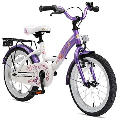 BIKESTAR Sehr leichtes Kinderfahrrad für Mädchen ab 4-5 Jahre | 16 Zoll Kinderrad Classic | Fahrrad für Kinder Lila & Weiß