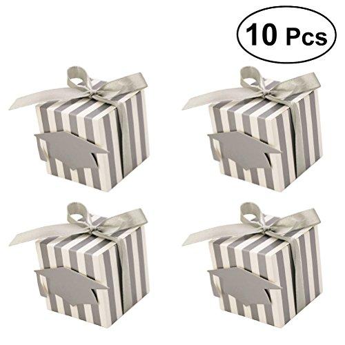 LUOEM Graduation Cap Geschenk-Boxen Candy Treat Boxen mit Quaste für Graduation Party Favors 10ST (Silber)