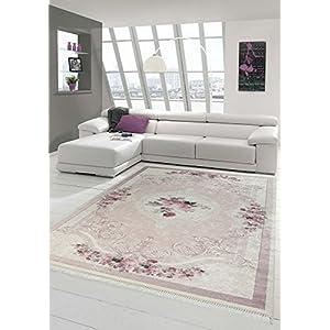 Merinos Teppich Blumen Wohnzimmerteppich Waschbar in Rosa Creme Größe 160x230 cm