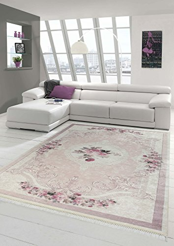 Merinos Teppich Blumen Wohnzimmerteppich Waschbar in Rosa Creme Größe 150 cm Rund