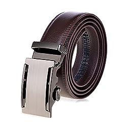 VBIGER Ledergürtel mit automatischer Schnalle für Herren Einheitsgröße 1-braun5