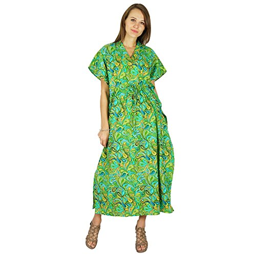 Phagun Caftan Robe Bohème Coton Femmes Kaftan Maxi Pyjamas Vert Et Aqua Bleu